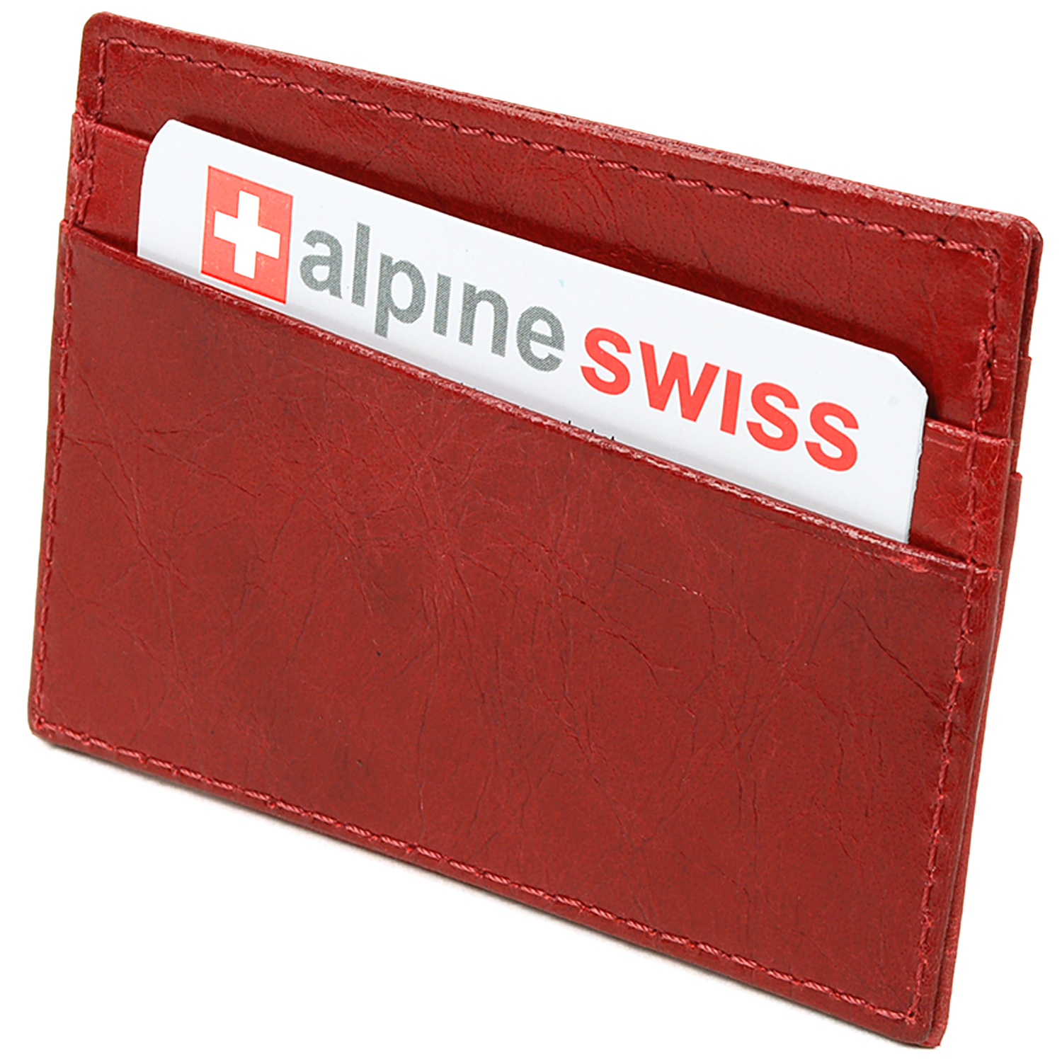 Alpine-Swiss-Super-Slim-Card-Case-Genuine-Leather-ID-Holder-Front-Pocket-Wallet thumbnail 40