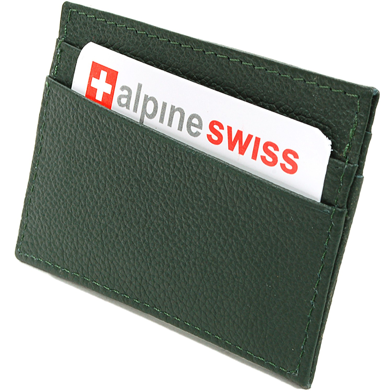 Alpine-Swiss-Super-Slim-Card-Case-Genuine-Leather-ID-Holder-Front-Pocket-Wallet thumbnail 59