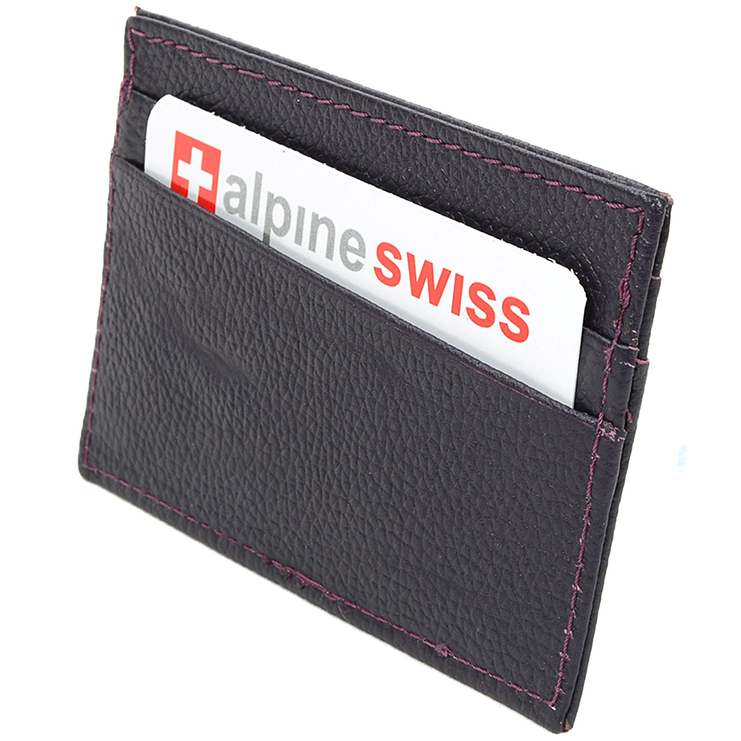 Alpine-Swiss-Super-Slim-Card-Case-Genuine-Leather-ID-Holder-Front-Pocket-Wallet thumbnail 65