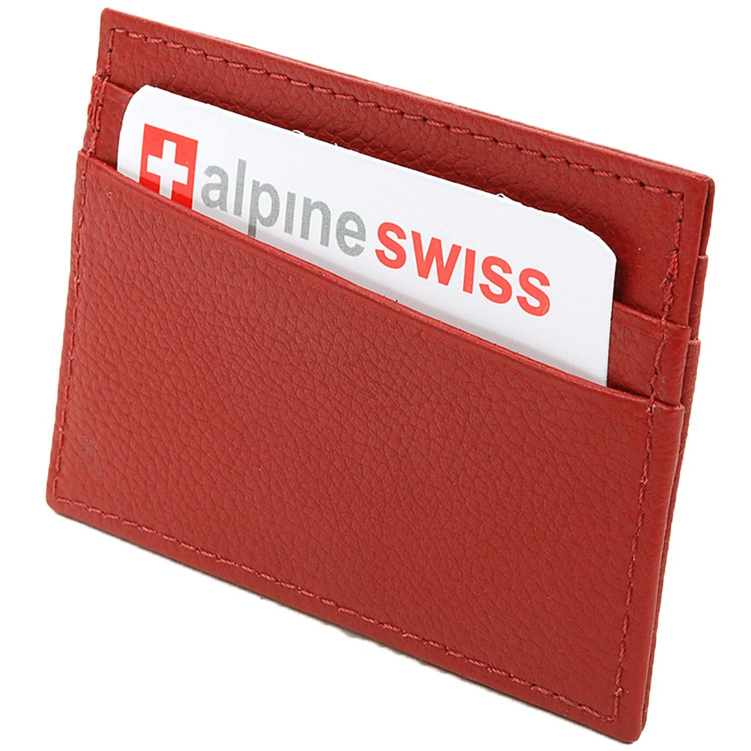 Alpine-Swiss-Super-Slim-Card-Case-Genuine-Leather-ID-Holder-Front-Pocket-Wallet thumbnail 71