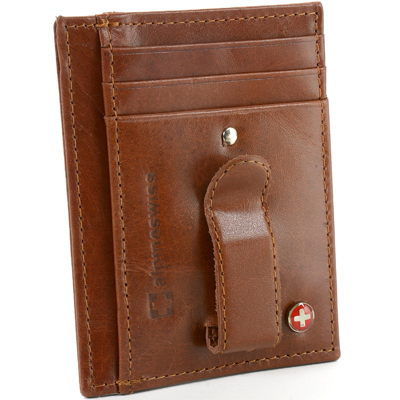 Alpine Swiss Mens Money Clip Genuine Leather Minimalist