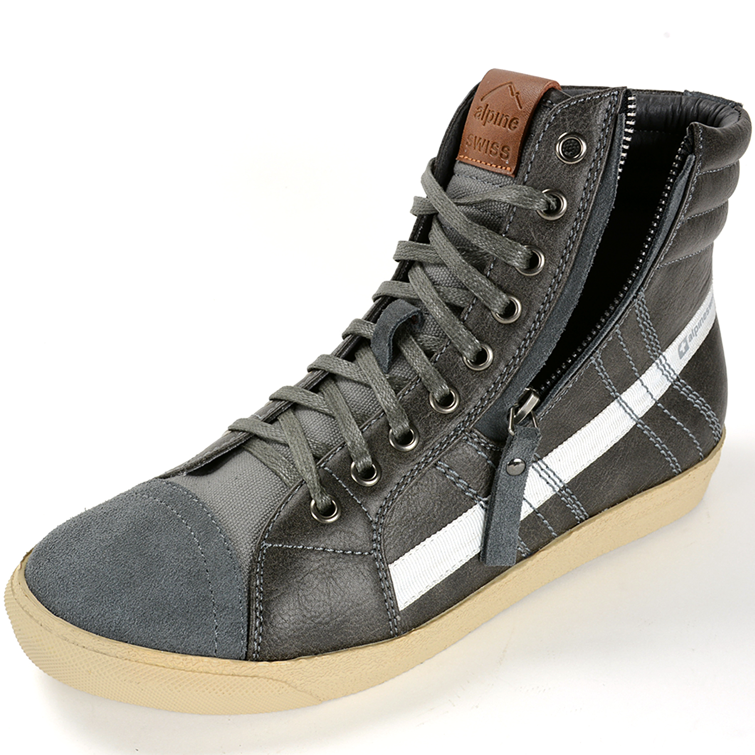 Alpine Swiss Reto Mens High Top Sneakers Lace Up U0026 Zip Ankle Boots Fashion Shoes | EBay