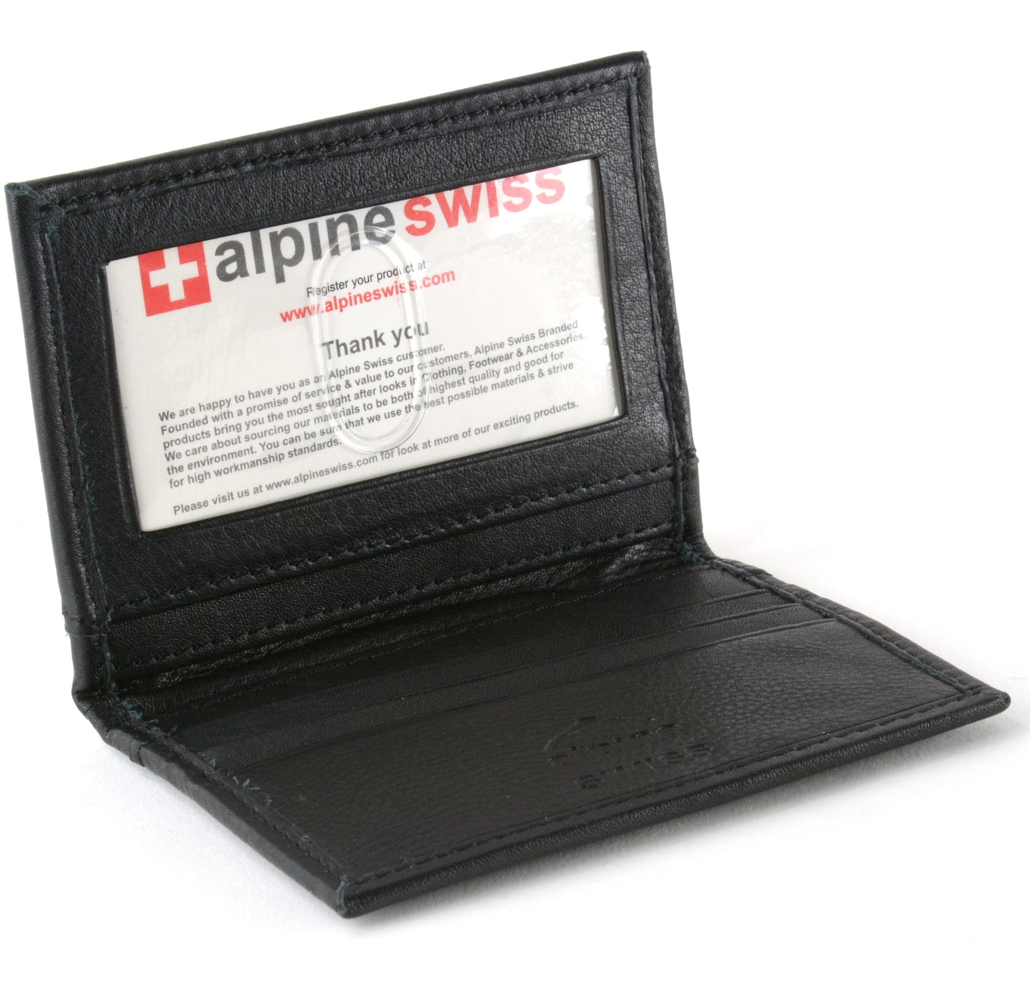 Alpine Swiss Thin Front Pocket Wallet Business Card Case 2 ID ...