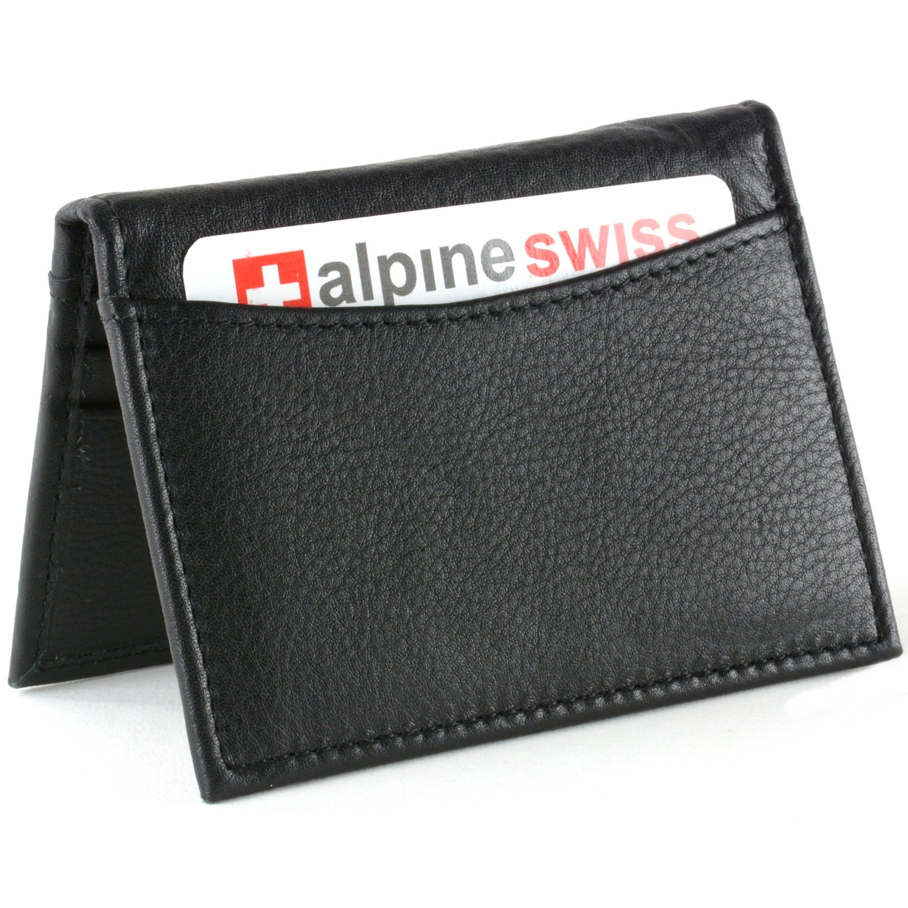 Alpine Swiss RFID Blocking Men\'s Leather Business Card Case Front ...
