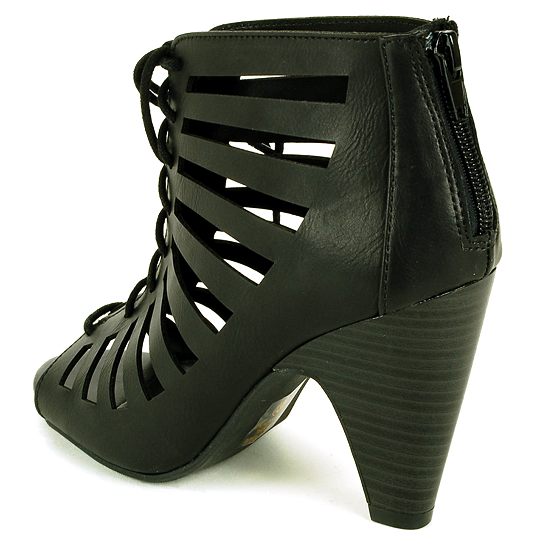 Womens Peep Toe High Heels Cutout Boots Lace Up Pumps Faux ...