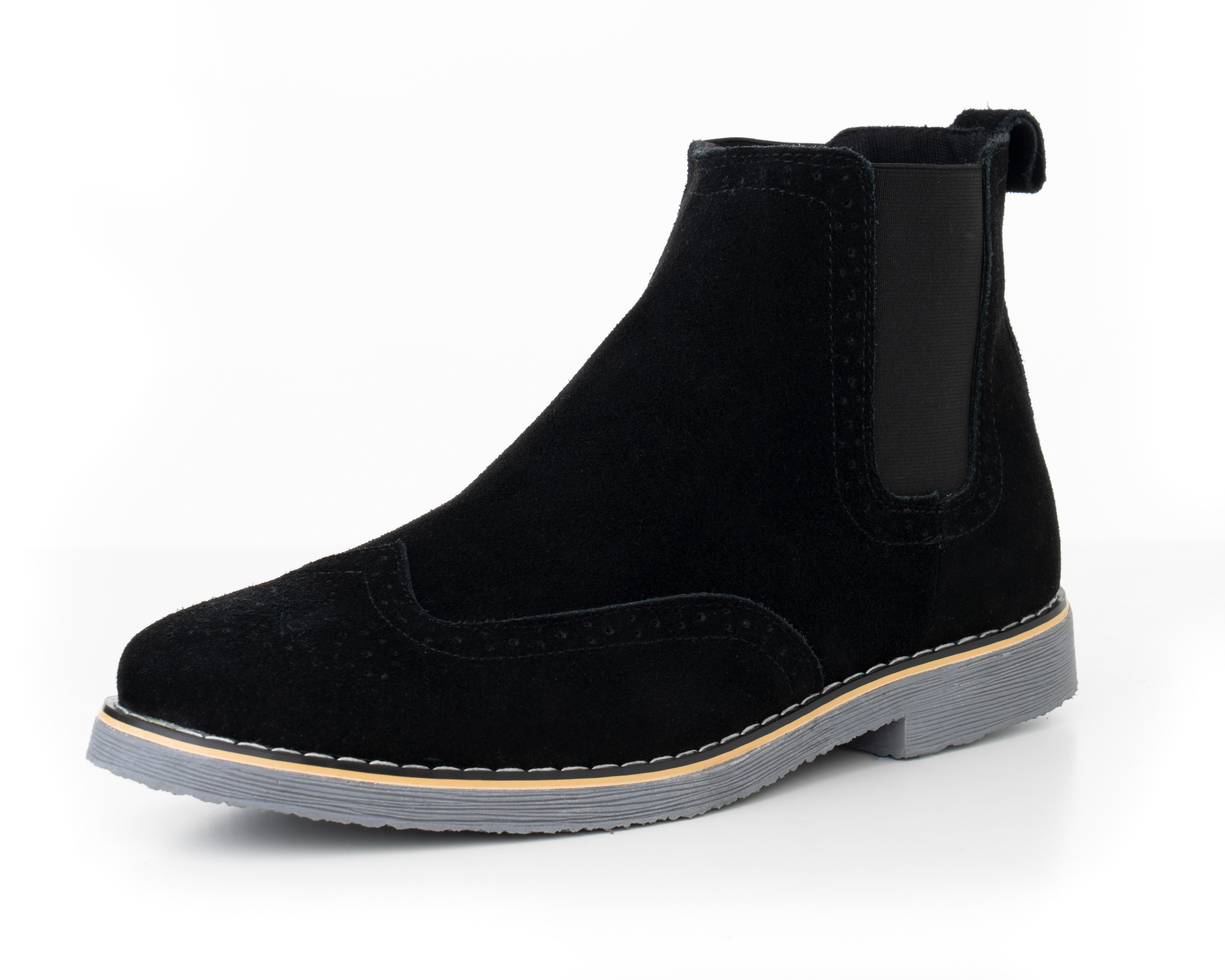 444ddf2039f7 Alpine Swiss Mens Chelsea Boots Genuine Suede Dress Ankle Boots Wingtip  Shoes