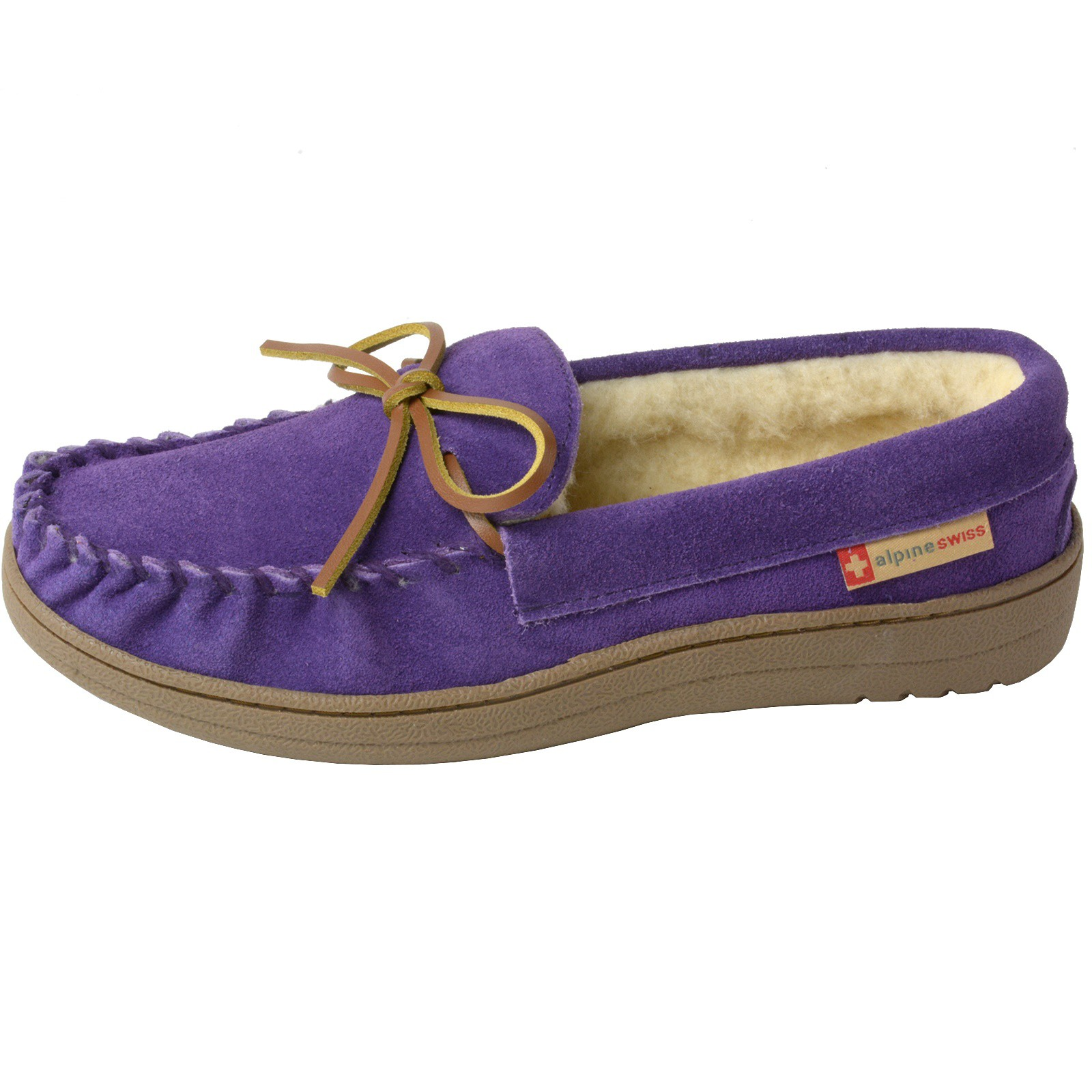 Alpine-Swiss-Sabine-Womens-Suede-Shearling-Moccasin-Slippers-House-Shoes-Slip-On miniature 34