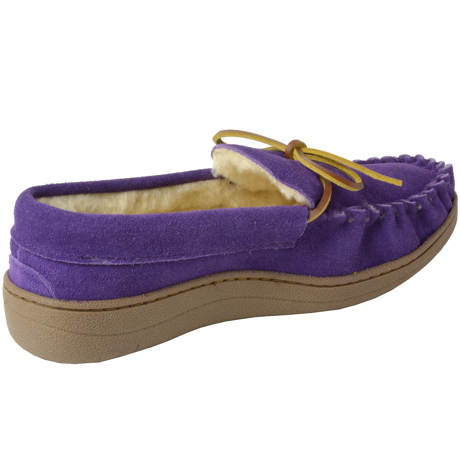 Alpine-Swiss-Sabine-Womens-Suede-Shearling-Moccasin-Slippers-House-Shoes-Slip-On miniature 36