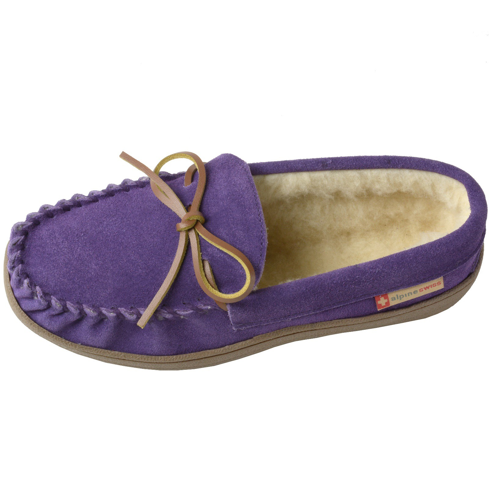 Alpine-Swiss-Sabine-Womens-Suede-Shearling-Moccasin-Slippers-House-Shoes-Slip-On miniature 37