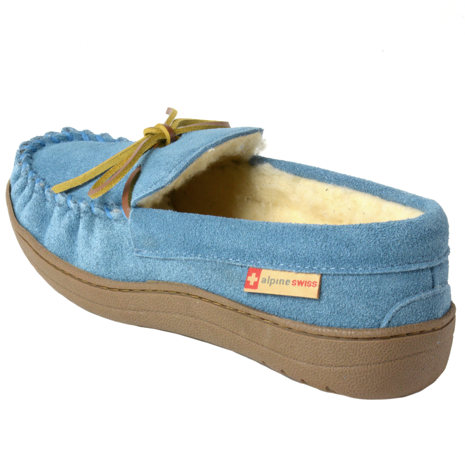 Alpine-Swiss-Sabine-Womens-Suede-Shearling-Moccasin-Slippers-House-Shoes-Slip-On miniature 20