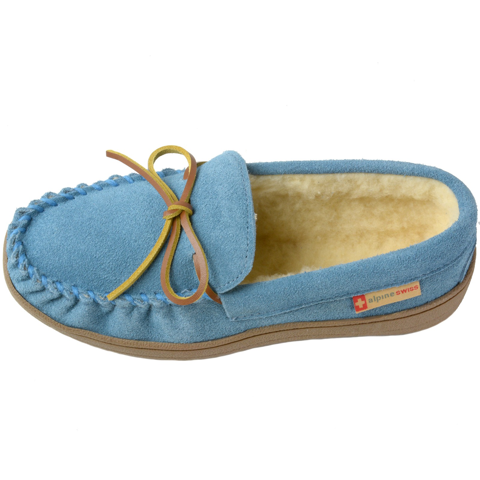 Alpine-Swiss-Sabine-Womens-Suede-Shearling-Moccasin-Slippers-House-Shoes-Slip-On miniature 19