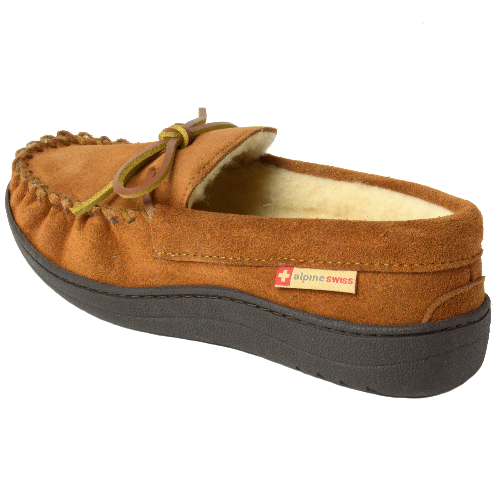 Alpine-Swiss-Sabine-Womens-Suede-Shearling-Moccasin-Slippers-House-Shoes-Slip-On miniature 26