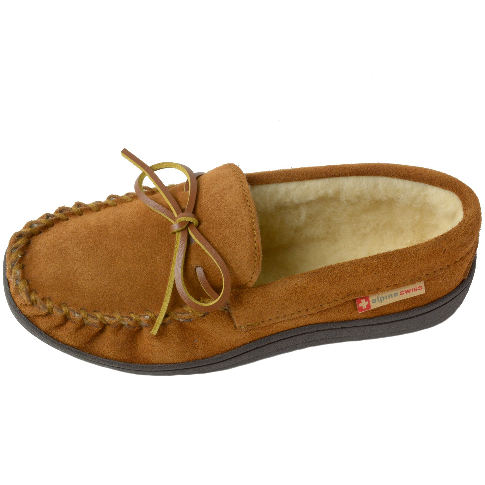 Alpine-Swiss-Sabine-Womens-Suede-Shearling-Moccasin-Slippers-House-Shoes-Slip-On miniature 27
