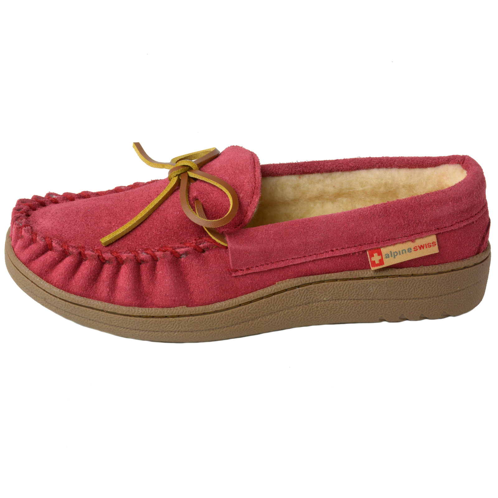 Alpine-Swiss-Sabine-Womens-Suede-Shearling-Moccasin-Slippers-House-Shoes-Slip-On miniature 41