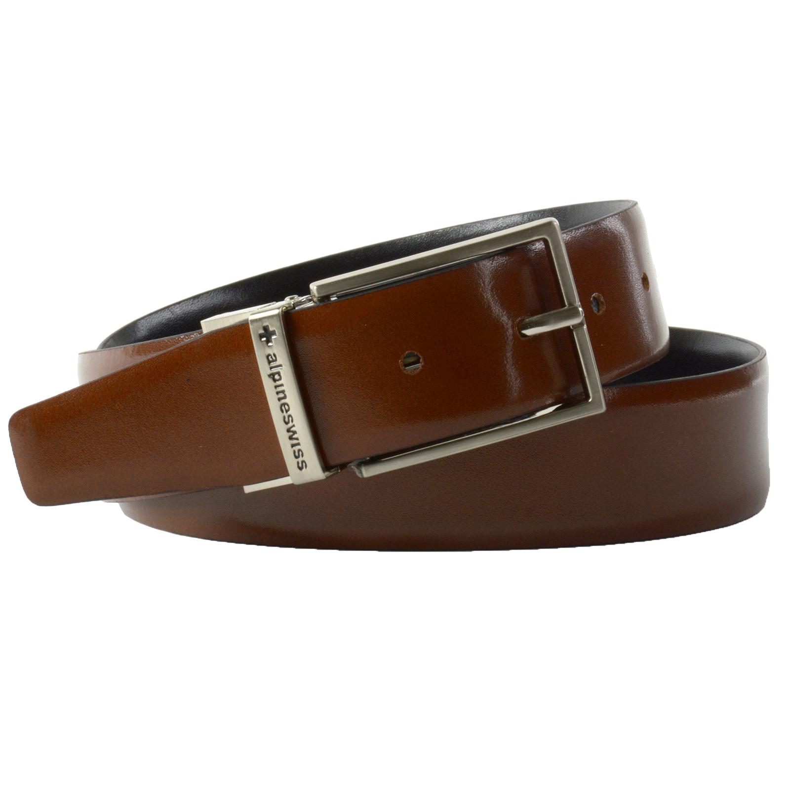 Alpine-Swiss-Men-039-s-Dress-Belt-Reversible-Black-Brown-Leather-Imported-from-Spain