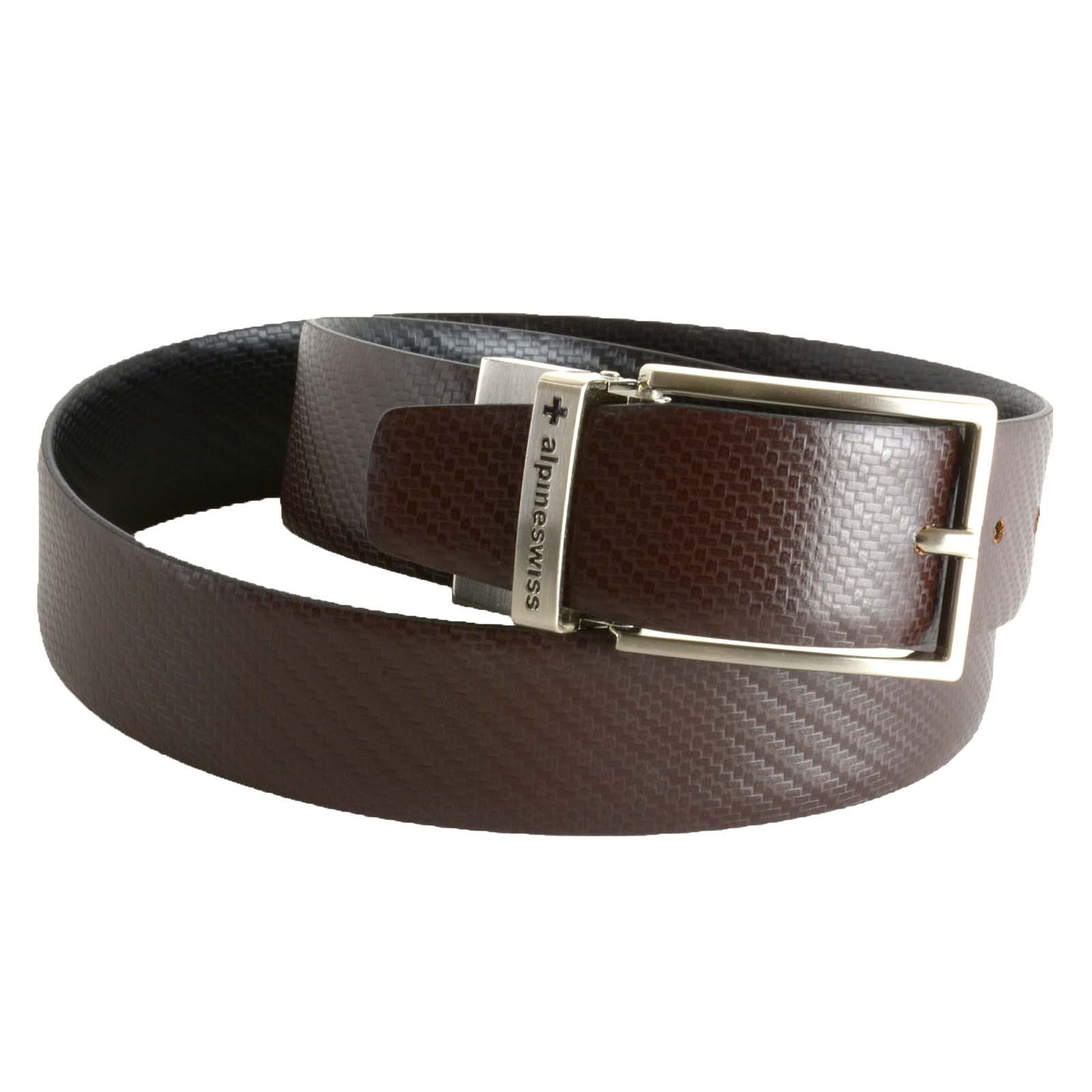 Alpine-Swiss-Mens-Dress-Belt-Reversible-Black-Brown-Leather-Imported-from-Spain thumbnail 11