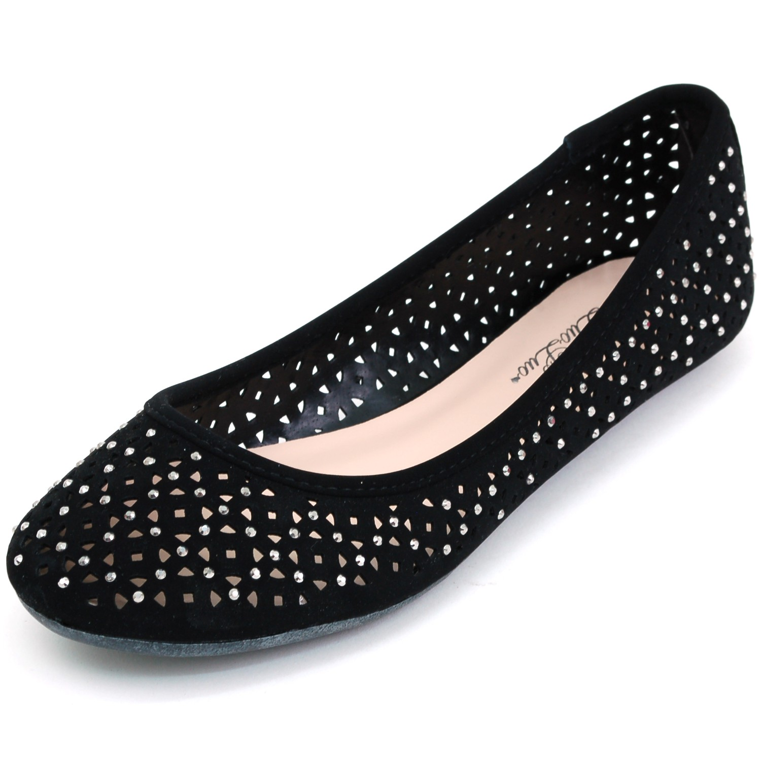 Womens Ballet Flats Perforated Rhinestone Embellished