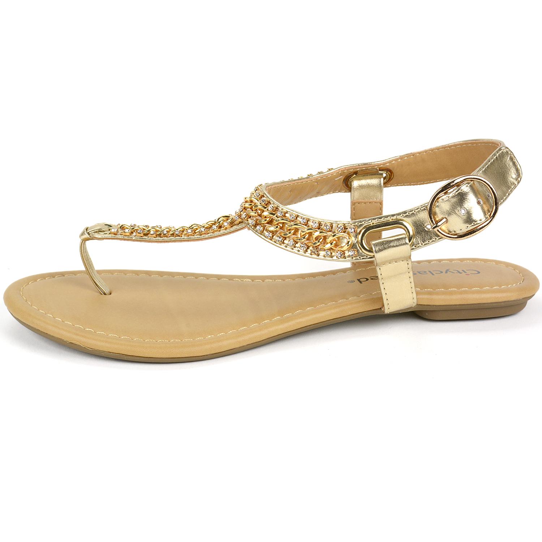 Womens Gladiator Sandals T-Strap Thong Slingback Flip Flop ...