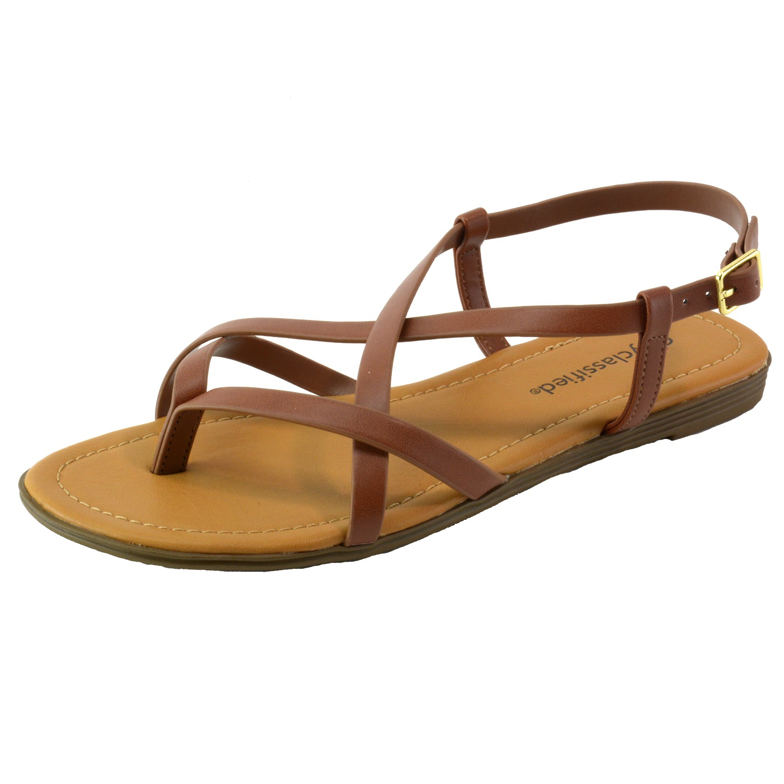City Classified Women's Flat Shoes Strappy Thong Slingback