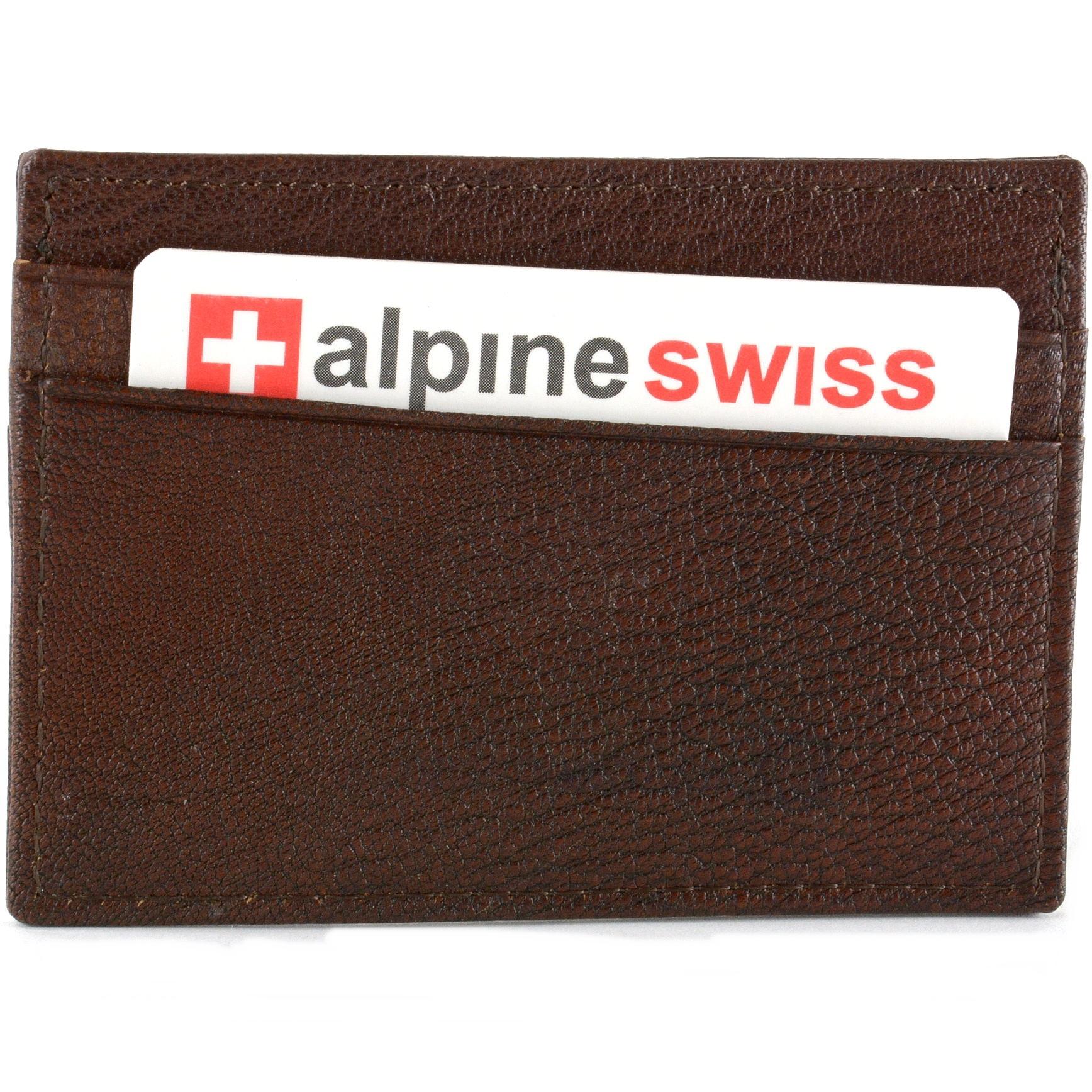 Alpine-Swiss-Minimalist-Leather-Front-Pocket-Wallet-5-Card-Slots-Slim-Thin-Case thumbnail 13