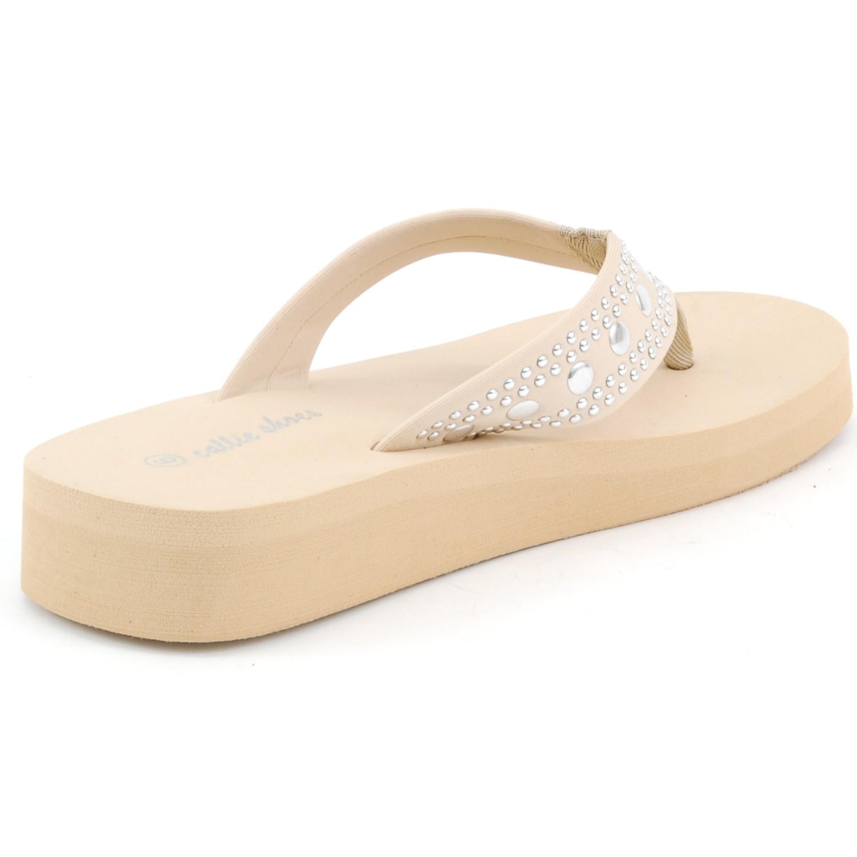 2ca66ed27776 Womens Platform Sandals Flip Flops Wedge Heel Studded Straps Super ...
