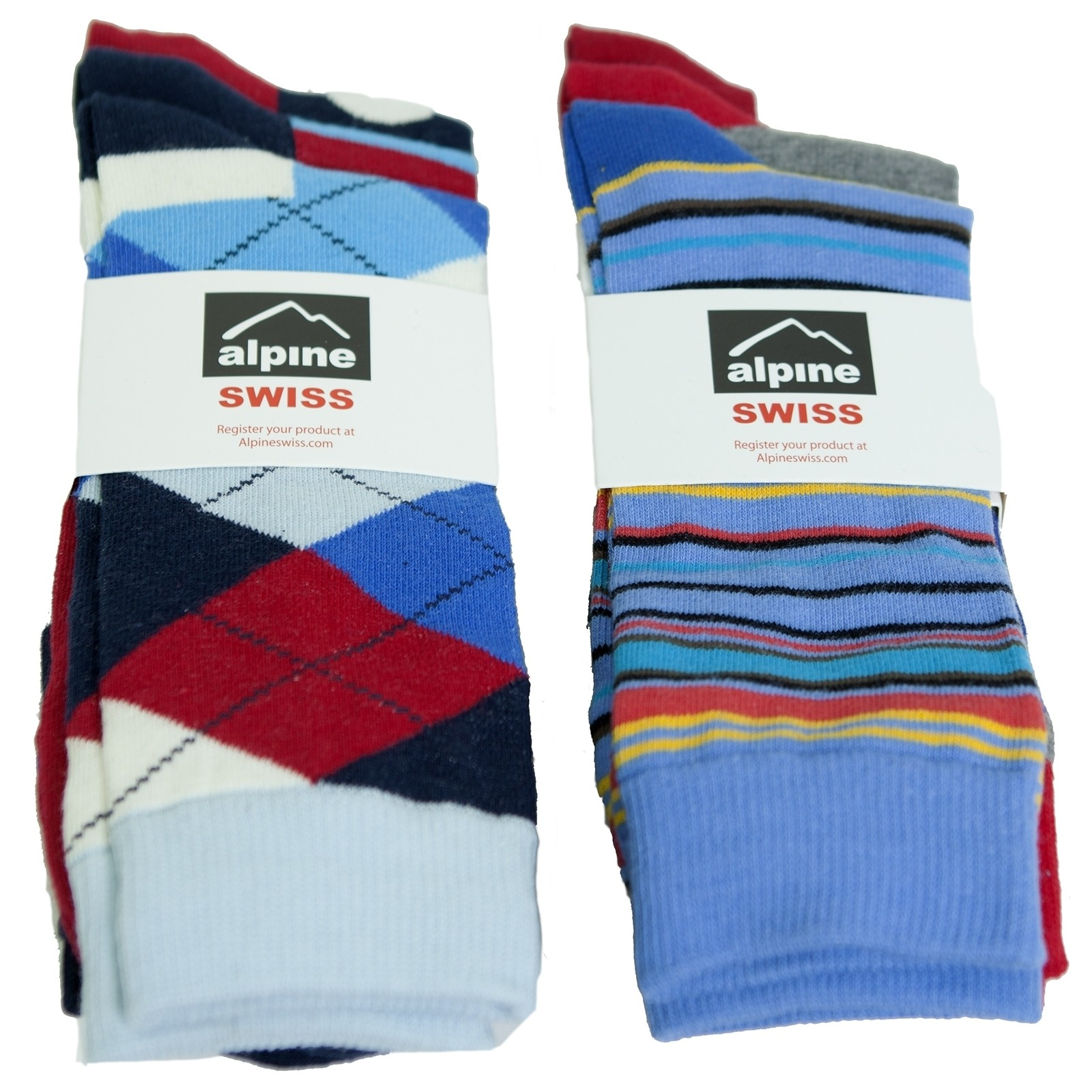 Alpine-Swiss-6-Pack-Mens-Cotton-Dress-Socks-Mid-Calf-Argyle-Pattern-Solids-Set