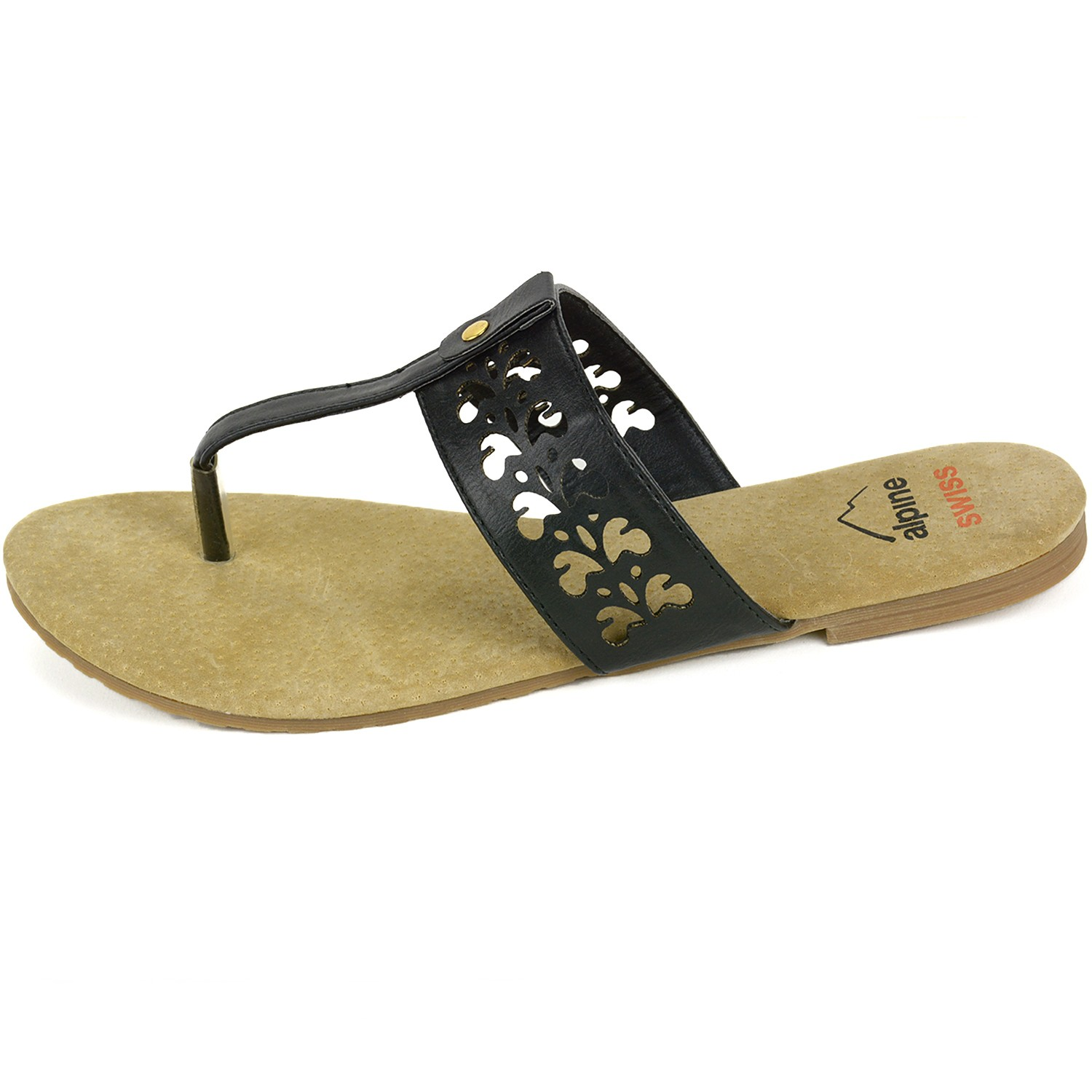 98a645802b9 Alpine Swiss Womens Suede Sandals Floral Cut Out Faux Leather T ...