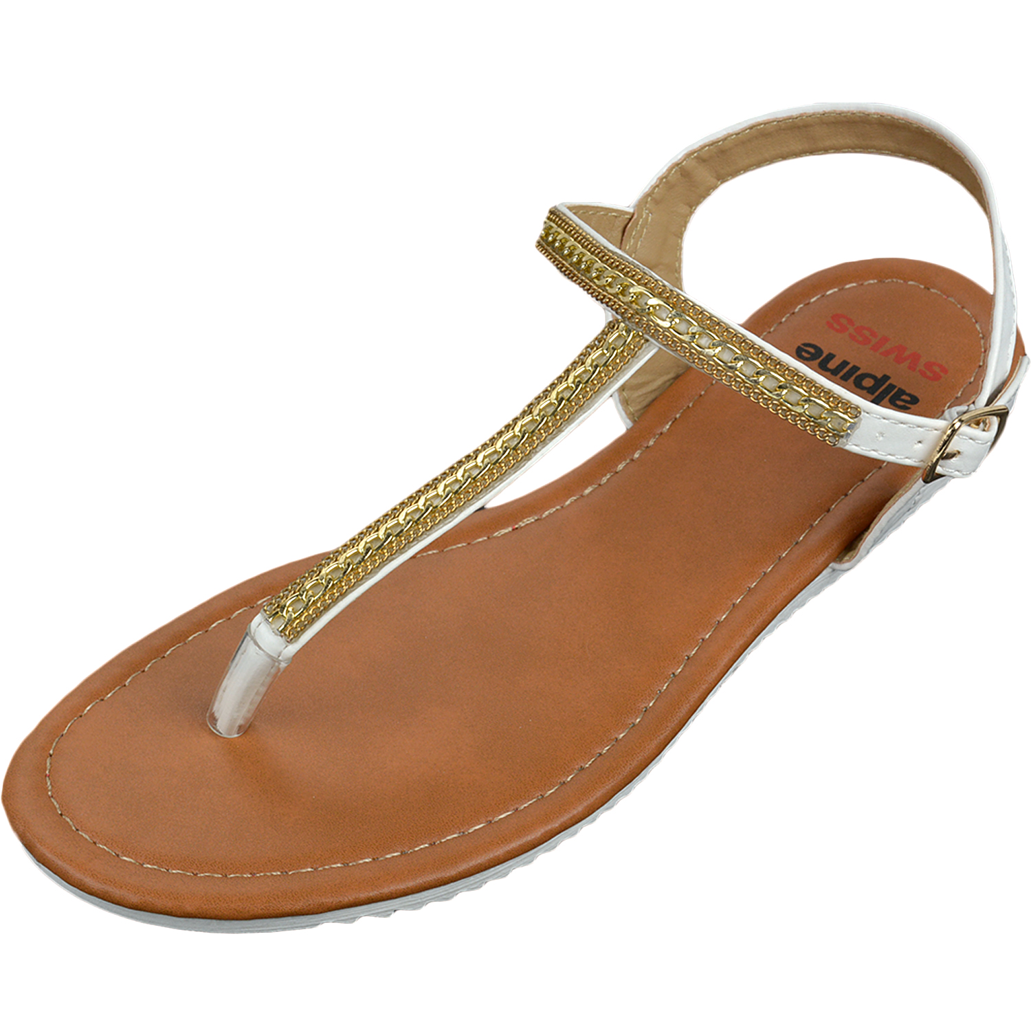Alpine Swiss Womens Dressy Sandals Slingback Thongs Gold T