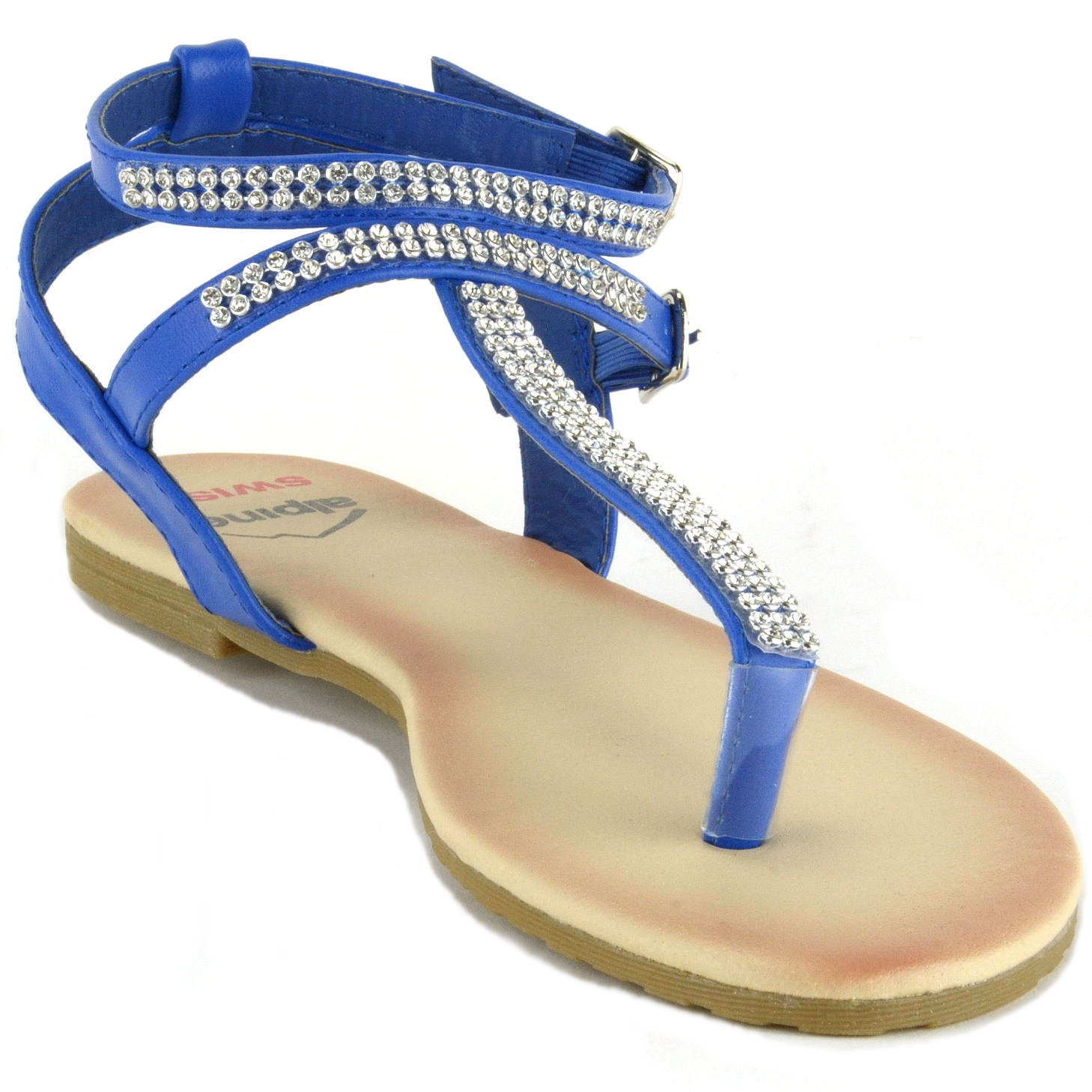 Alpine Swiss Womens Rhinestone T Strap Sandals Ankle Strap