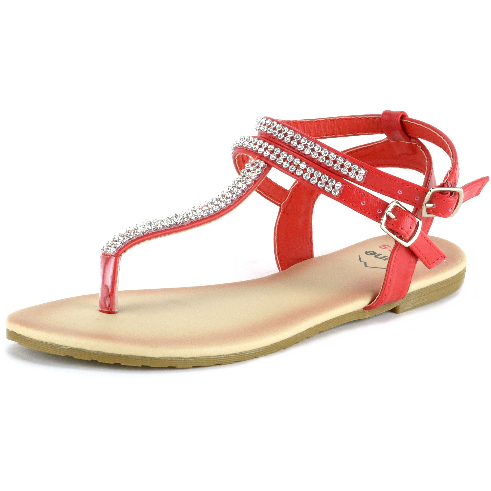 473309330c445 Details about Alpine Swiss Womens Rhinestone T-Strap Sandals Ankle Strap  Flat Summer Shoes