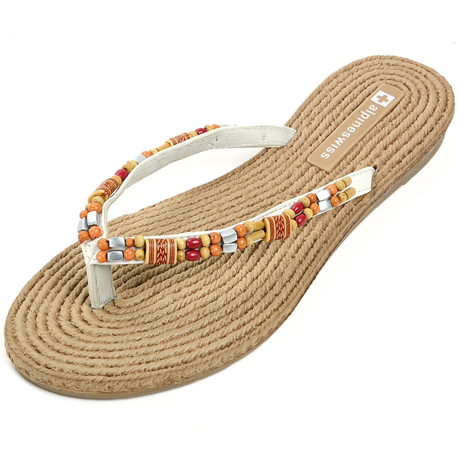 Alpine Swiss Women S Bohemian Sandals Wood Bead Thongs
