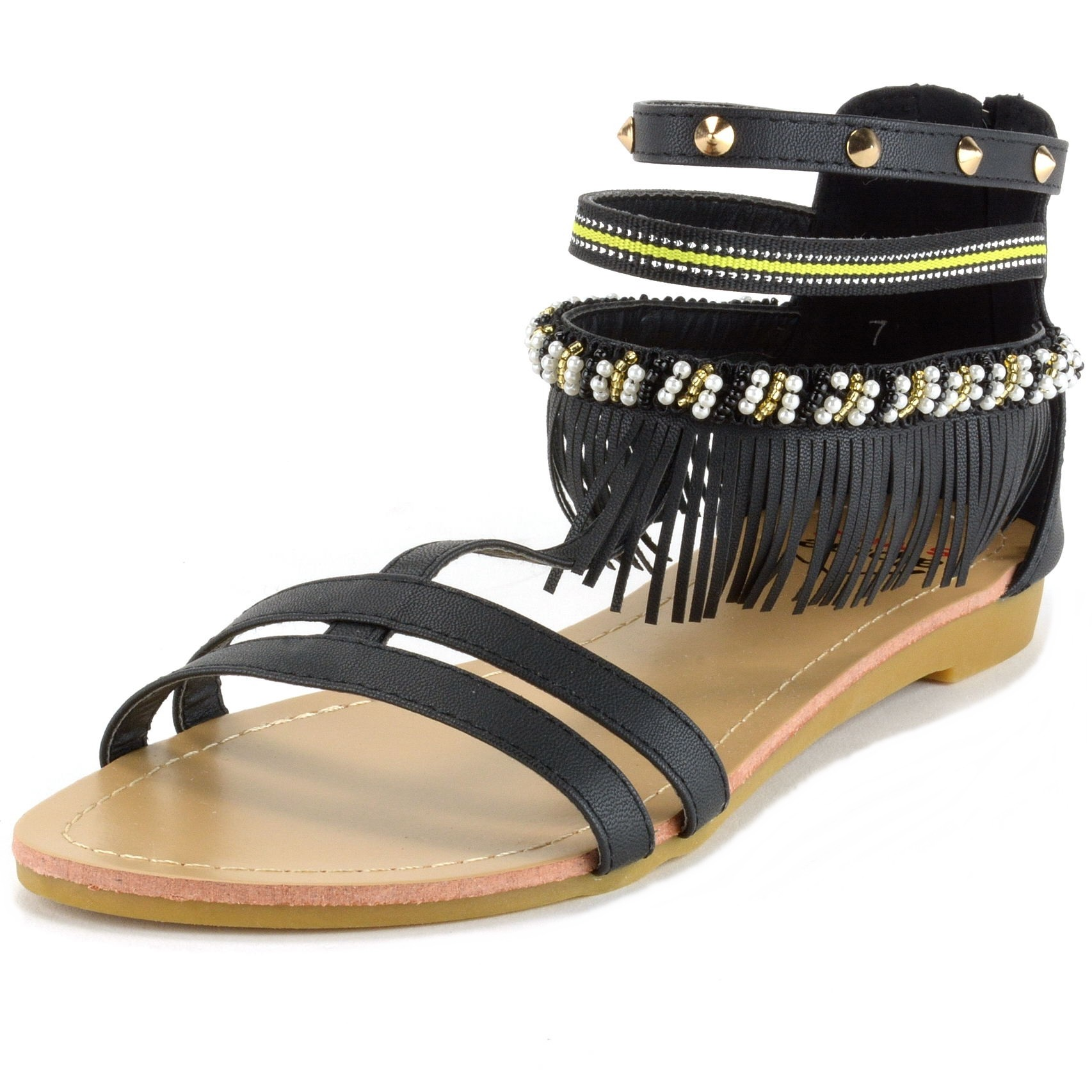 6b2b2fe2dac5 Alpine Swiss Womens Fringe Sandals Beaded   Studded Strappy ...