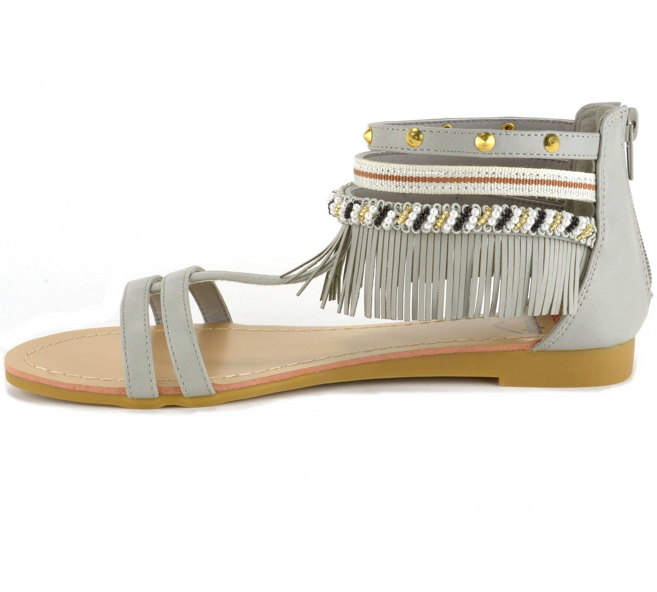 Alpine-Swiss-Womens-Fringe-Sandals-Beaded-amp-Studded-Strappy-Gladiator-Ankle-Flat