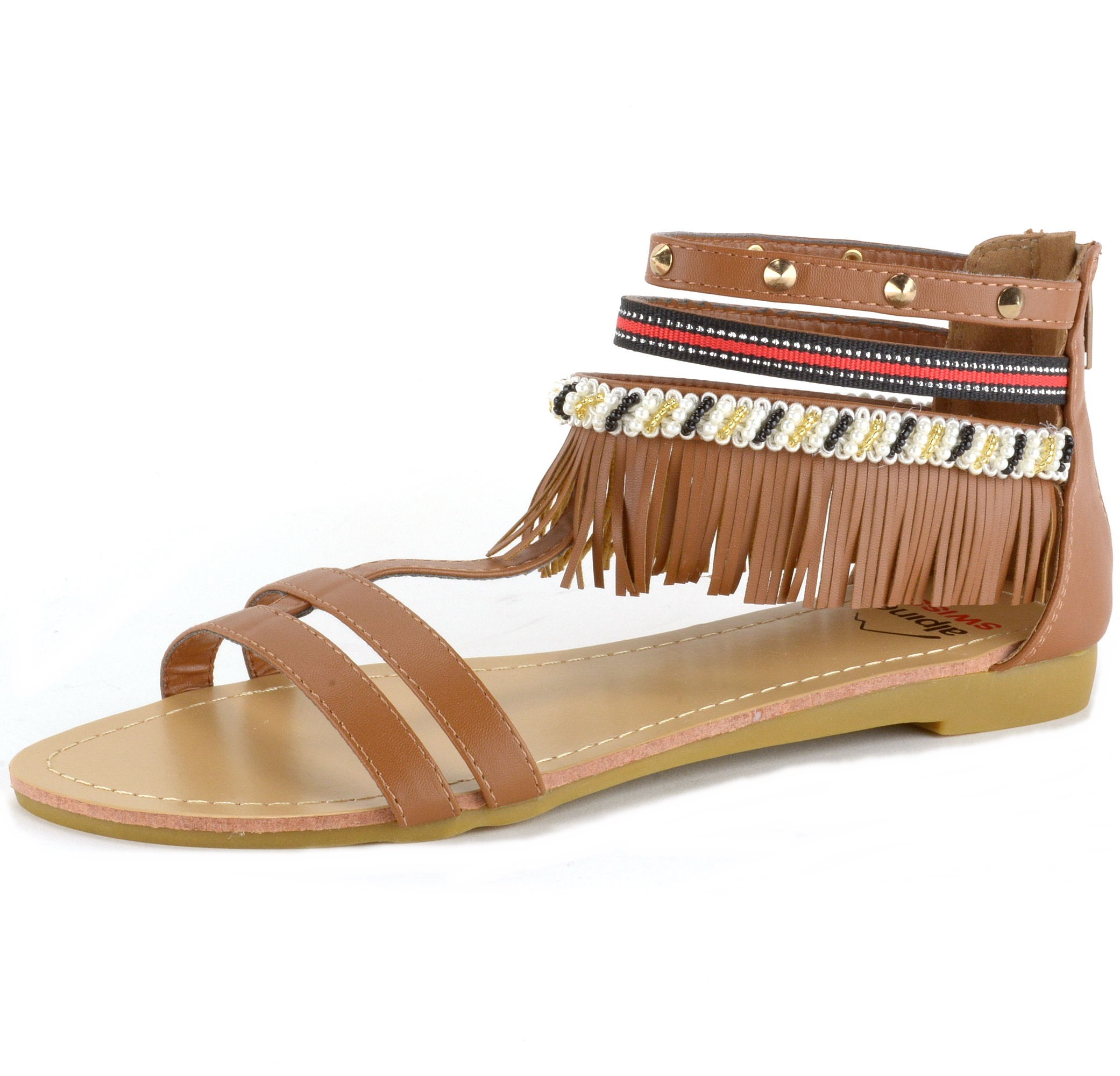 Alpine Swiss Womens Fringe Sandals Beaded Amp Studded