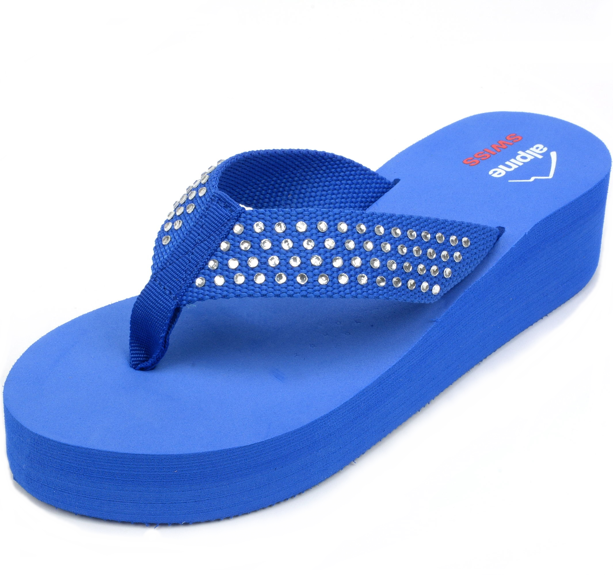 6fa4cf3810191 Alpine Swiss Womens Flip Flops Thong Sandals Rhinestone Wedge High Heel  Platform