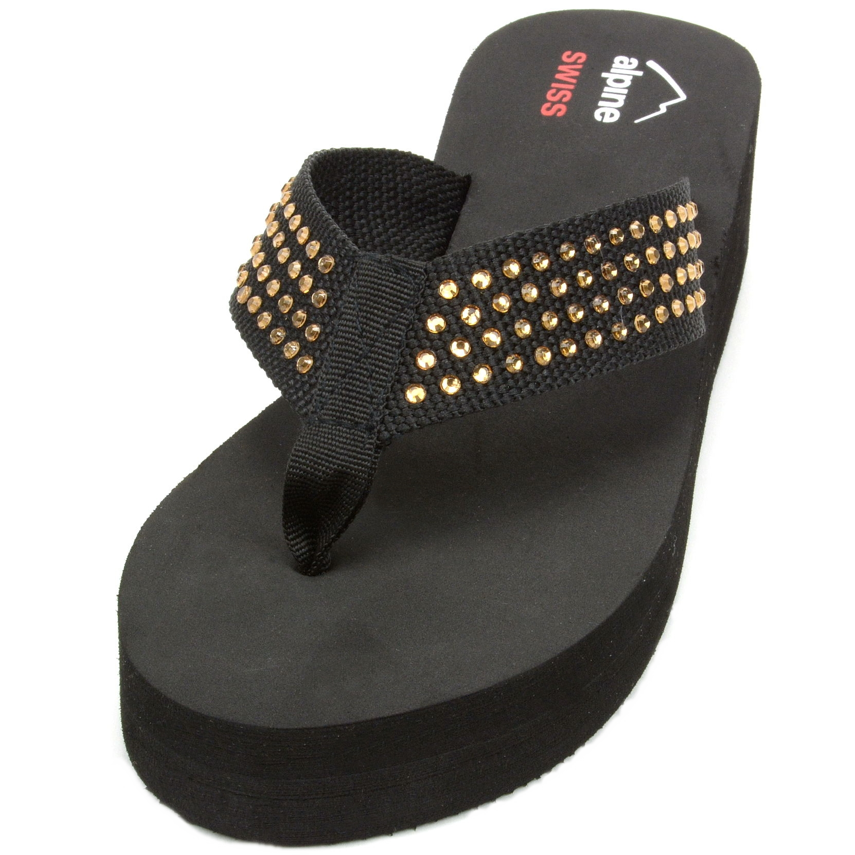 Alpine Swiss Womens Flip Flops Thong Sandals Rhinestone -7041