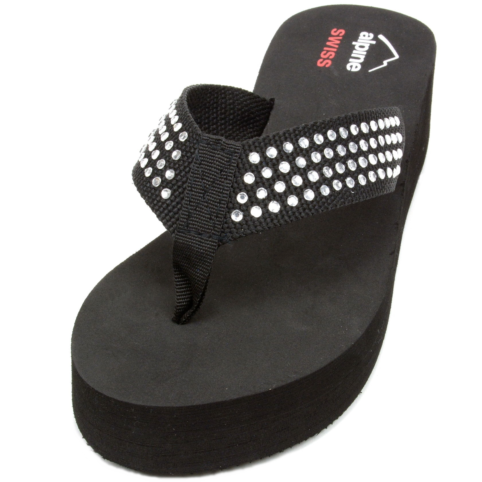 Alpine Swiss Womens Flip Flops Thong Sandals Rhinestone -4887