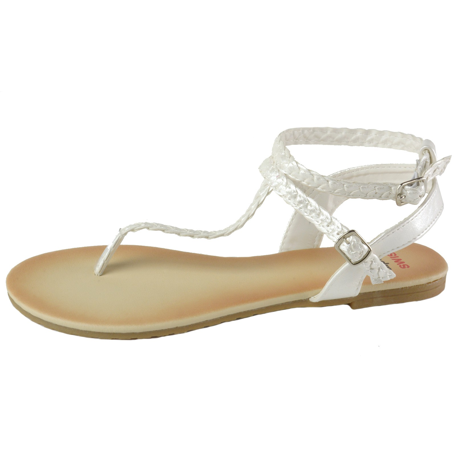 7fcbe683378 Alpine Swiss Womens Gladiator Sandals Braided T-Strap Slingback ...