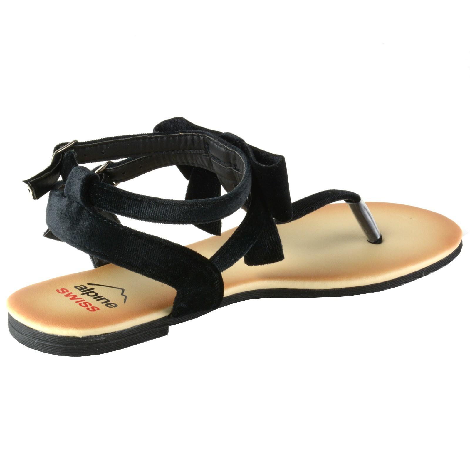 cba96c65719 Alpine Swiss Womens Velvet Bow Sandals T-Strap Thong Gladiator ...