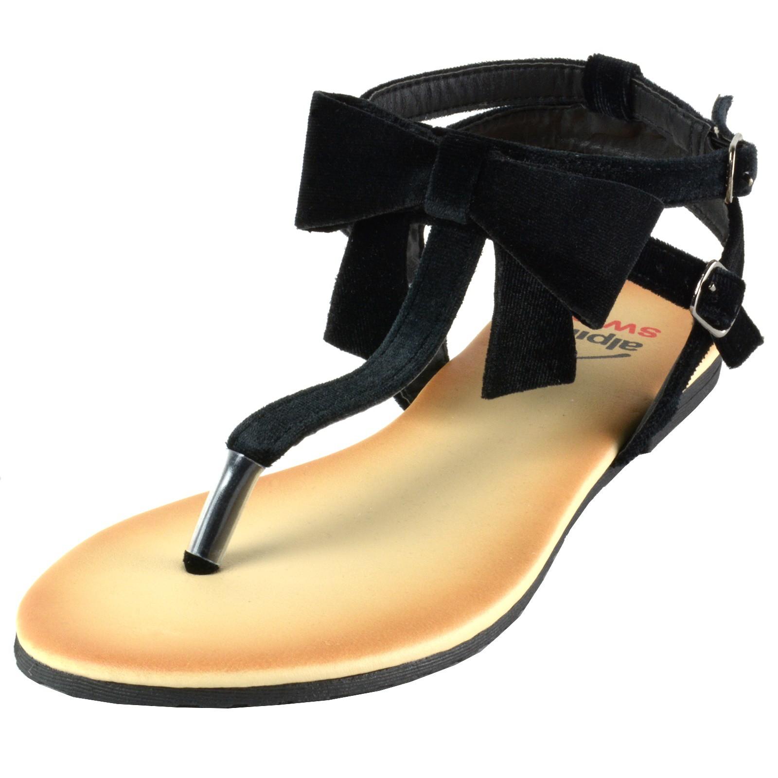 f0bbfbccc32e49 Alpine Swiss Womens Velvet Bow Sandals T-Strap Thong Gladiator ...