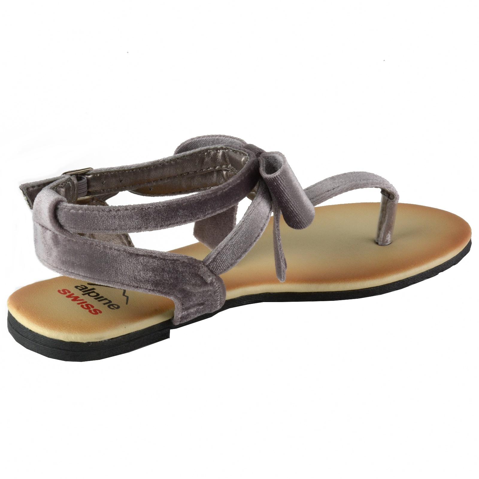 7f574cb83 Alpine Swiss Womens Velvet Bow Sandals T-Strap Thong Gladiator ...