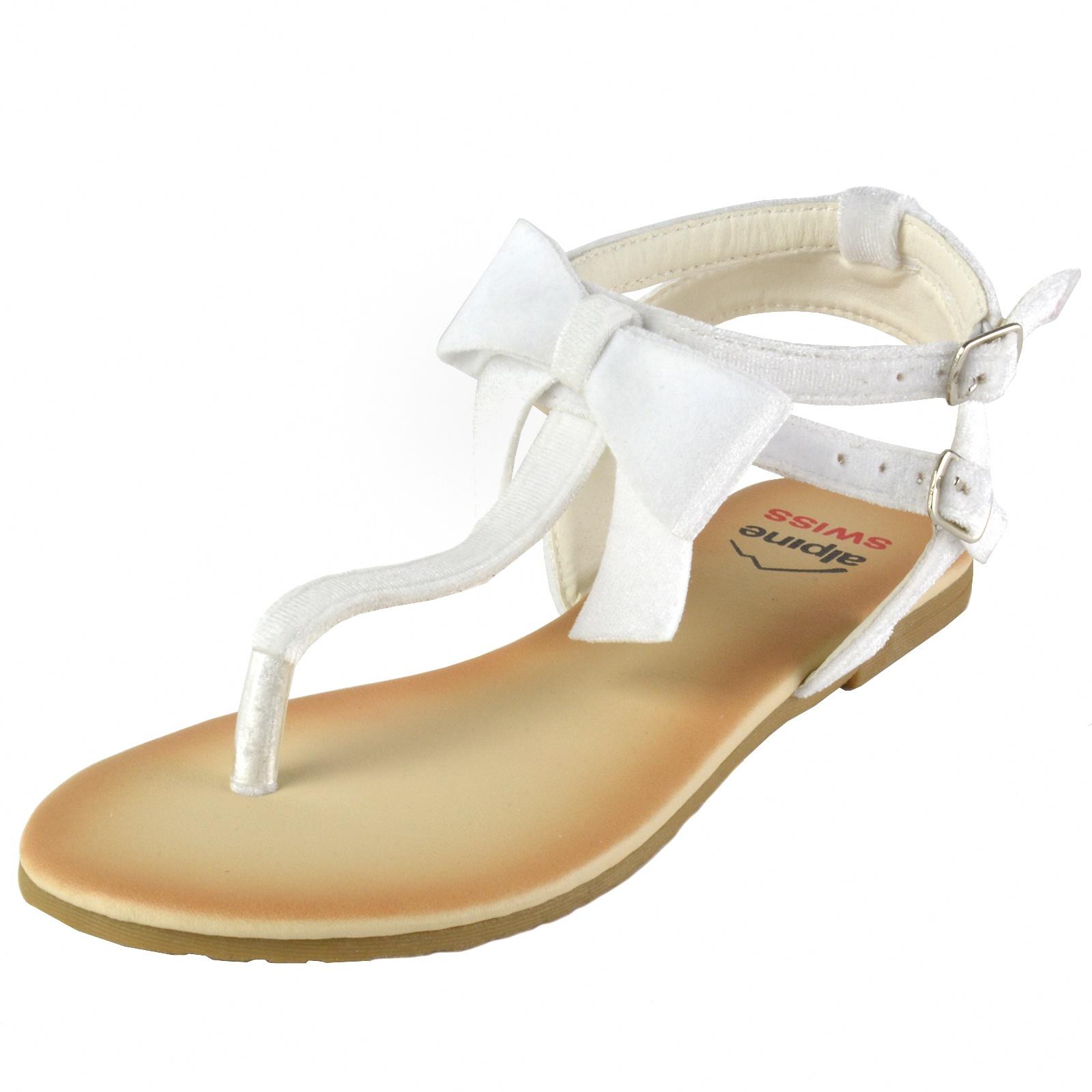 Alpine Swiss Womens Velvet Bow Sandals TStrap Thong Gladiator Slingback Flats