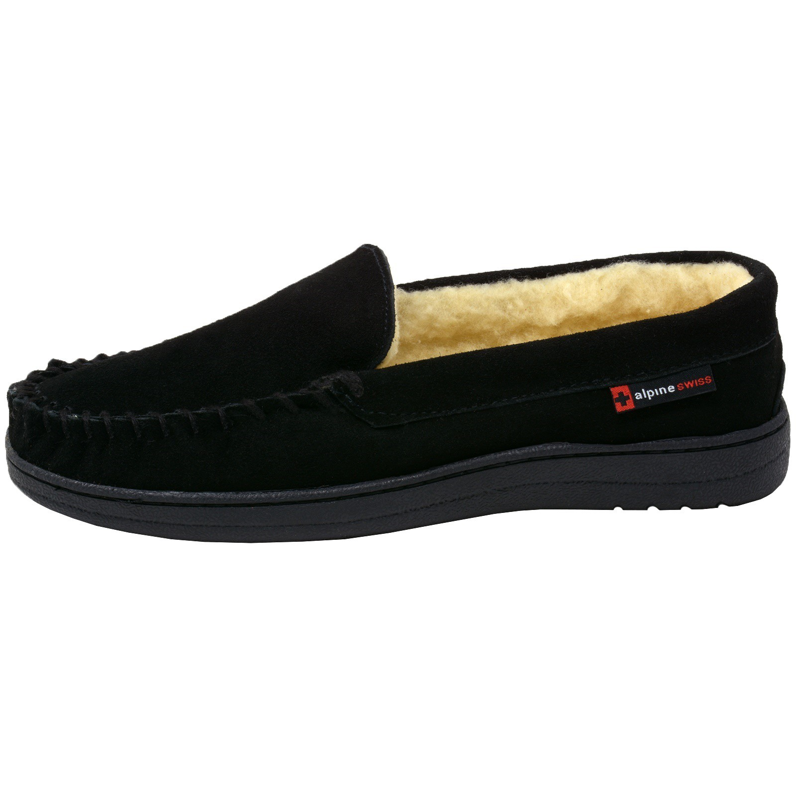 Alpine-Swiss-Yukon-Mens-Suede-Shearling-Moccasin-Slippers-Moc-Toe-Slip-On-Shoes thumbnail 13