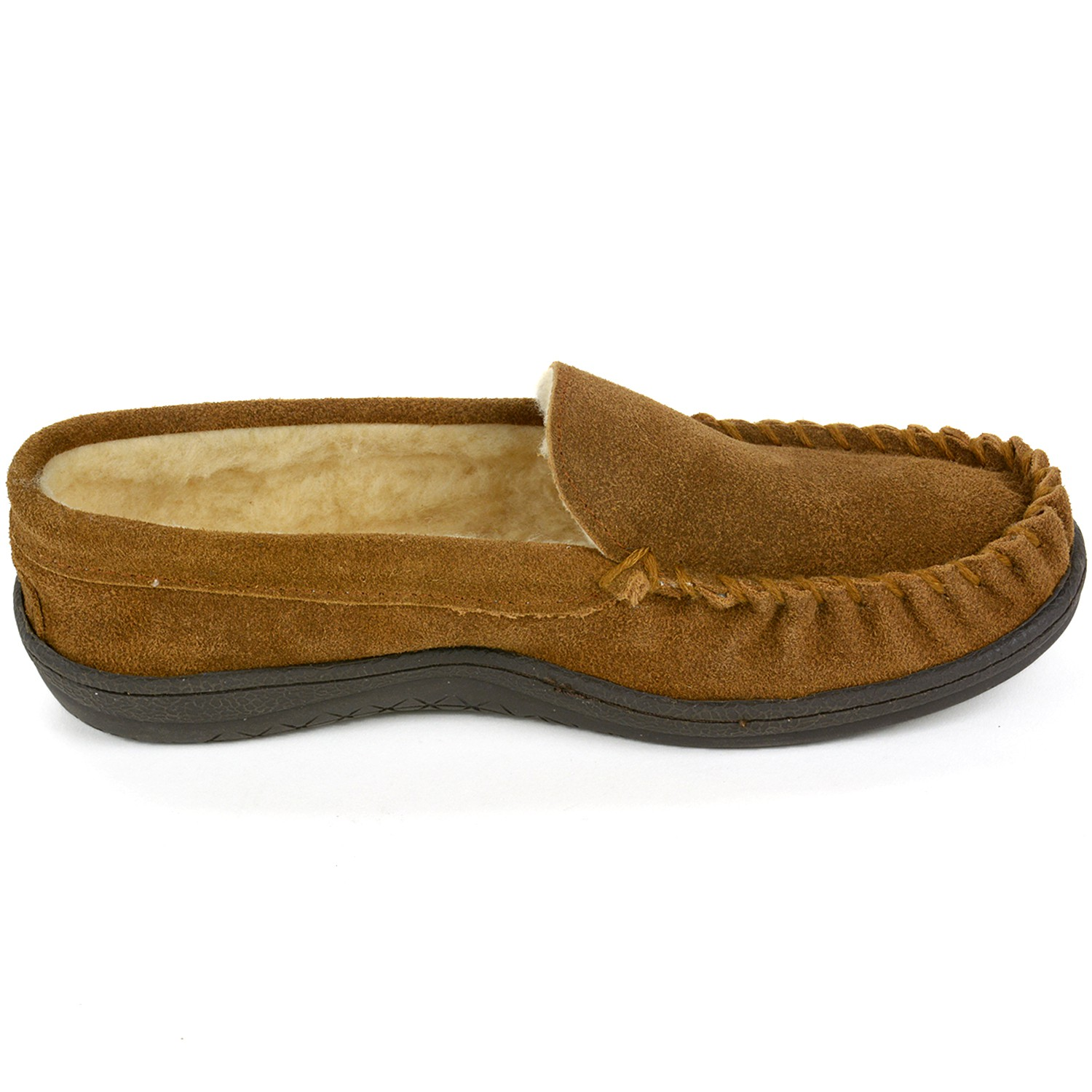 thumbnail 25 - Alpine-Swiss-Yukon-Mens-Suede-Shearling-Moccasin-Slippers-Moc-Toe-Slip-On-Shoes