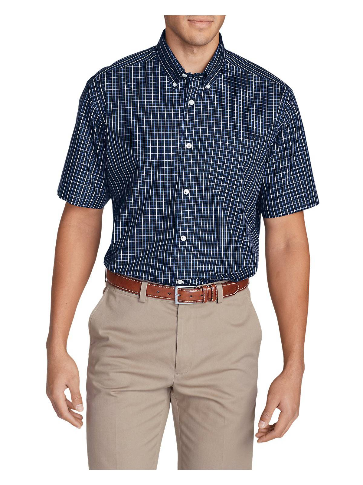 208b842909 Eddie Bauer Men s Wrinkle-Free Relaxed Fit Short-Sleeve Pinpoint Oxford  Shirt -