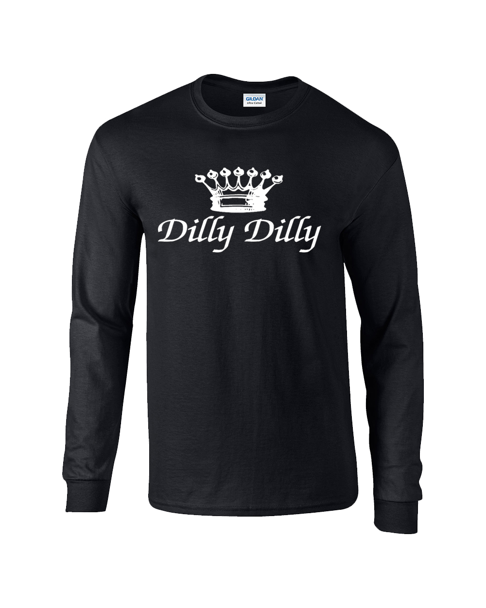 b98e6f71 Funny Beer Drinking Dilly Dilly Script Adult Long Sleeve T-Shirt-Black