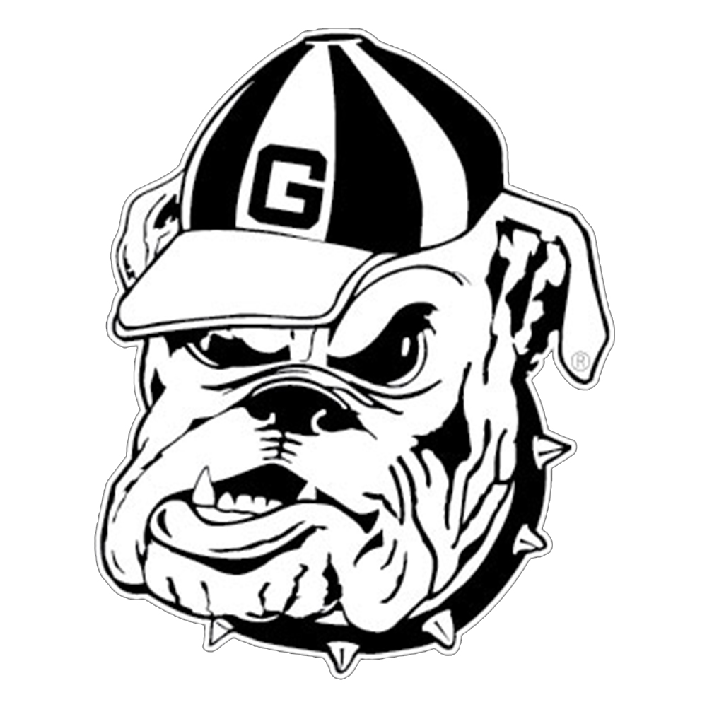 Georgia Bulldogs White Outline Mascot Decal Ebay