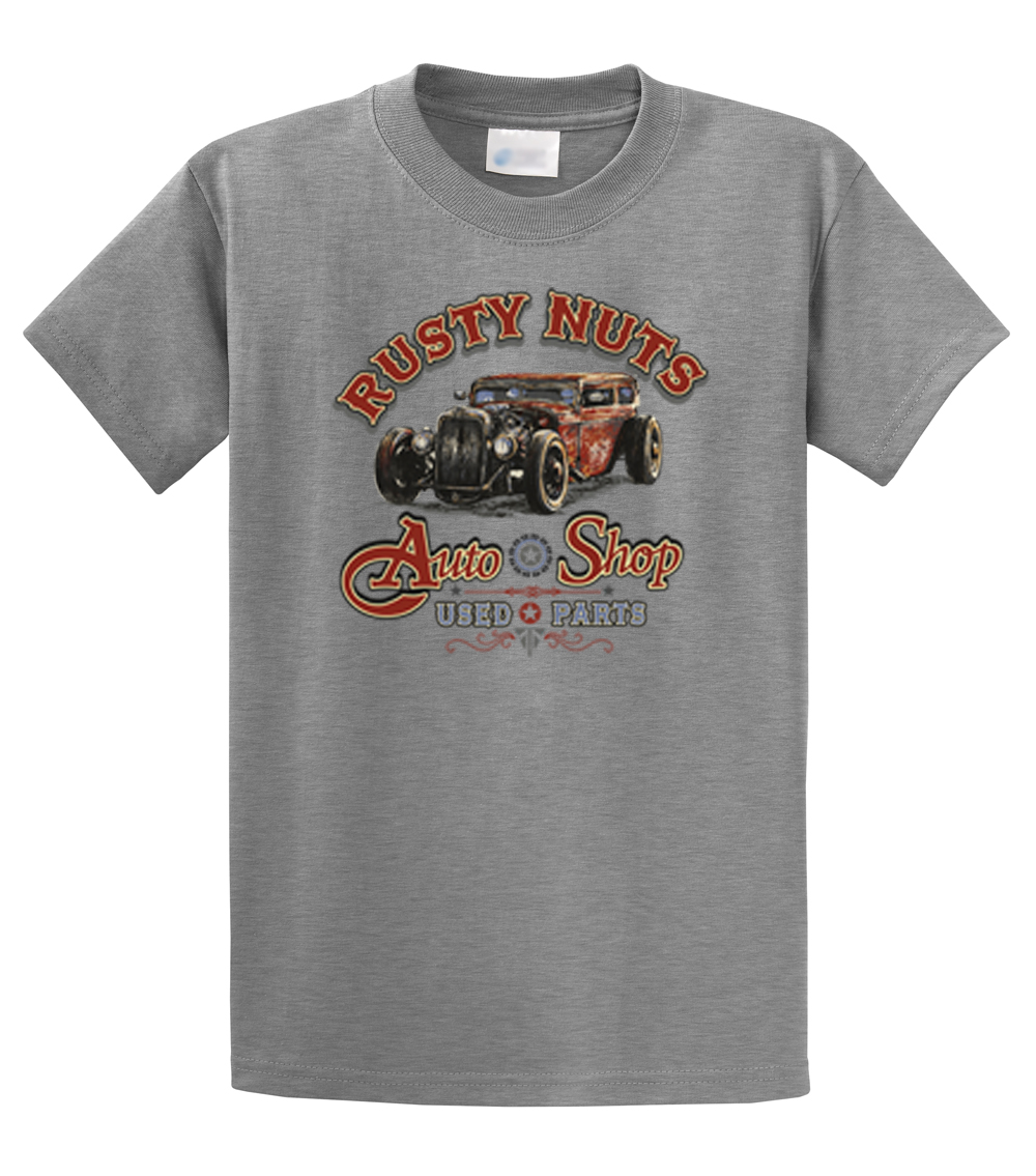 Rusty nuts auto shop used parts classic t shirt ebay for Warson motors t shirt