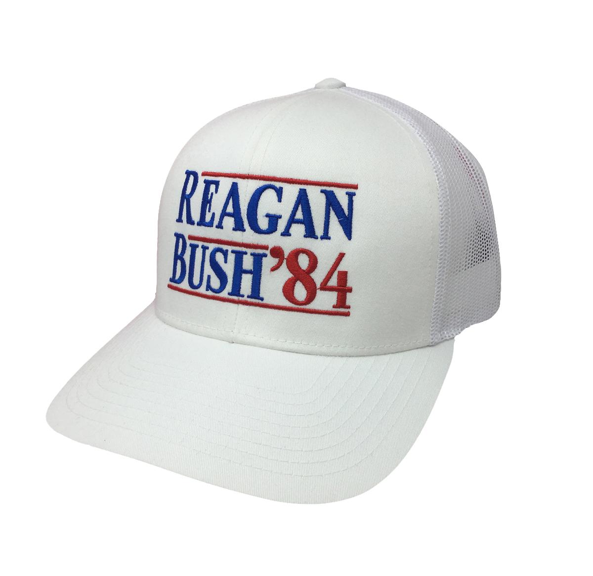 5e73026a23459 Reagan Bush 84 Campaign Adult Trucker Hat-White with White Mesh ...