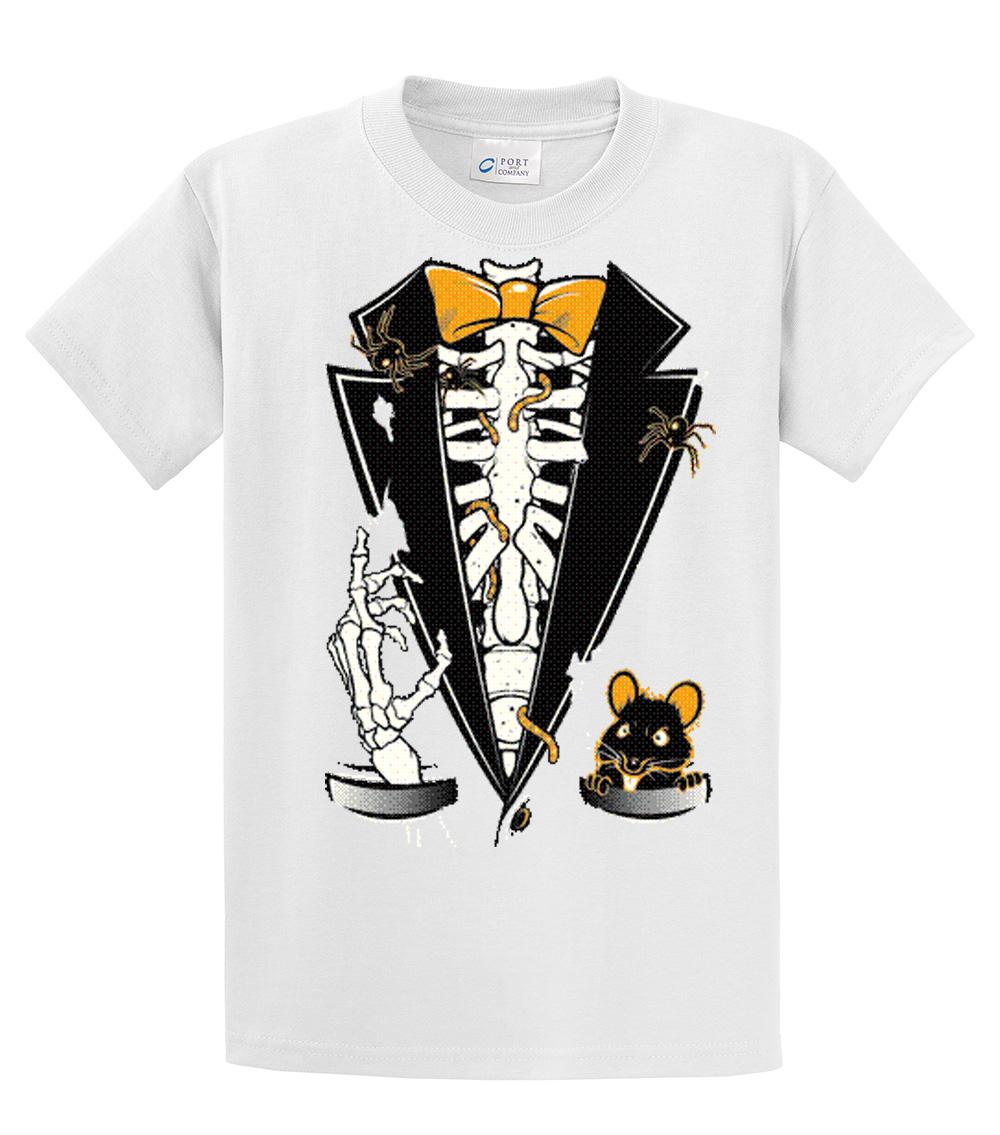 a8eca89b18636 Tuxedo T-Shirt Halloween Skeleton Tuxedo -White-4Xl